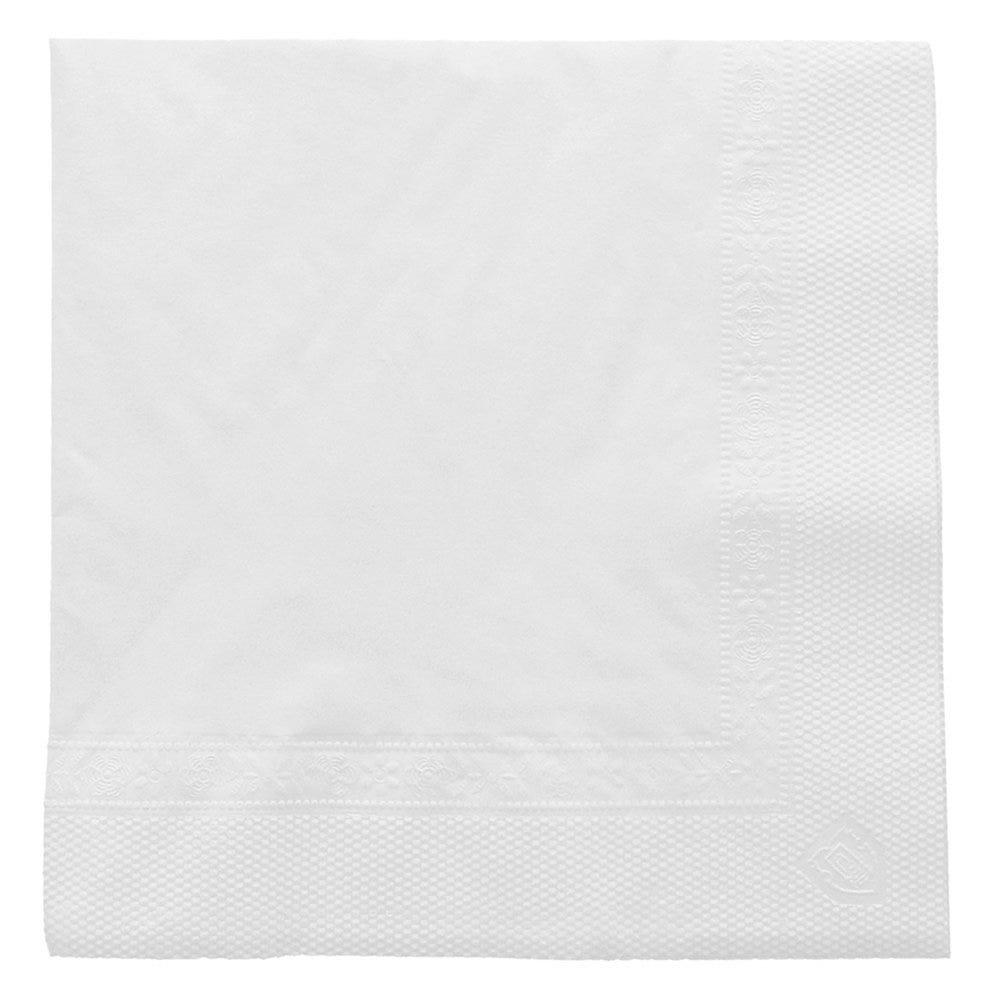 Serviette ouate 2 plis blanc avec bord en relief 25x25cm - par 4800
