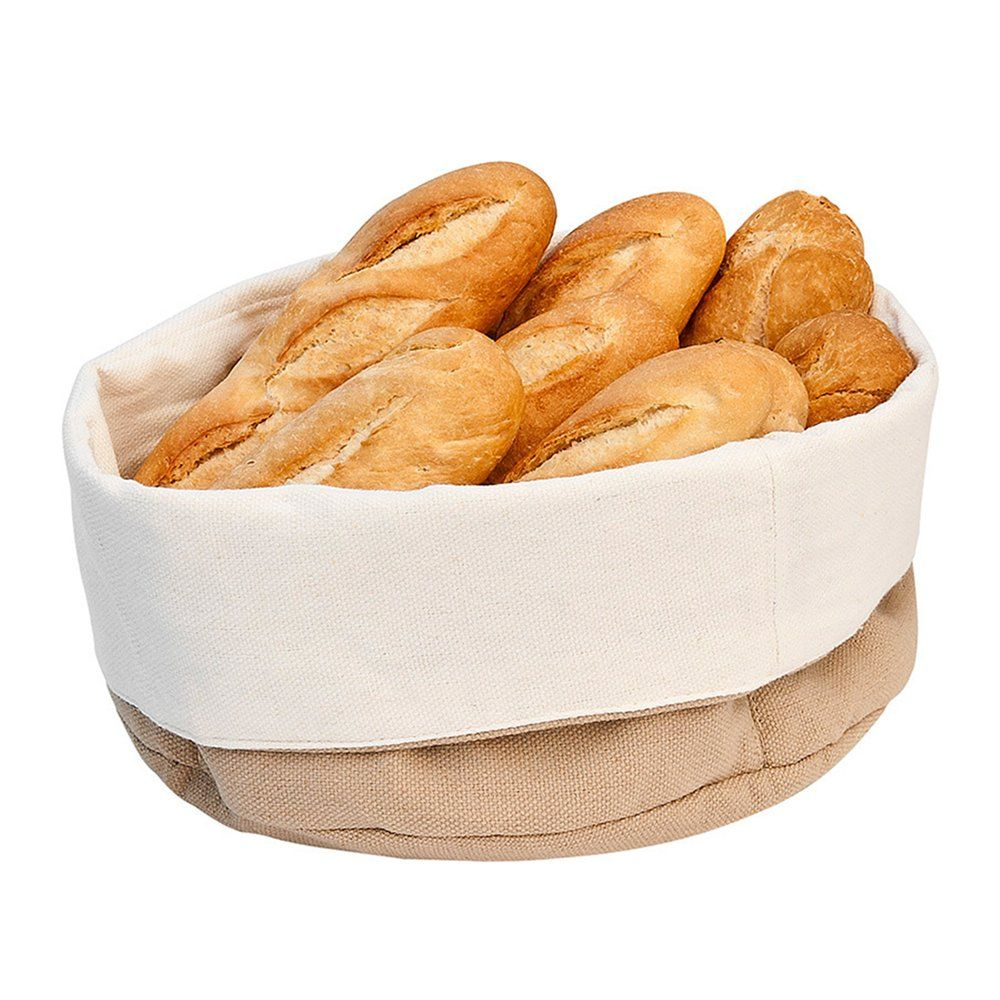 Corbeille à pain 18x25x9cm coton crème/marron - par 2 (photo)