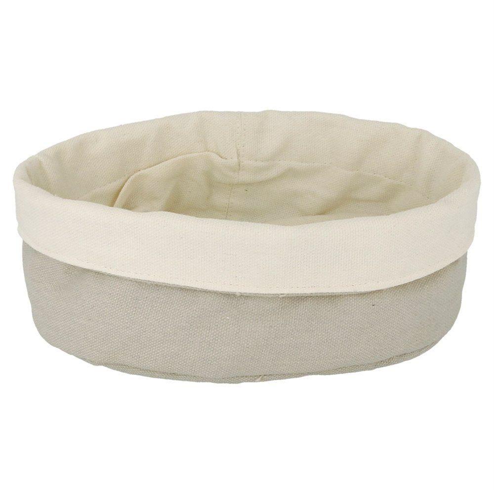 Corbeille à pain 18x25x9cm coton crème/gris - par 2 (photo)
