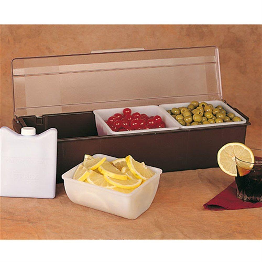 Distributeur à condiments 3 compartiments 49,5x15,7x9cm PS noir