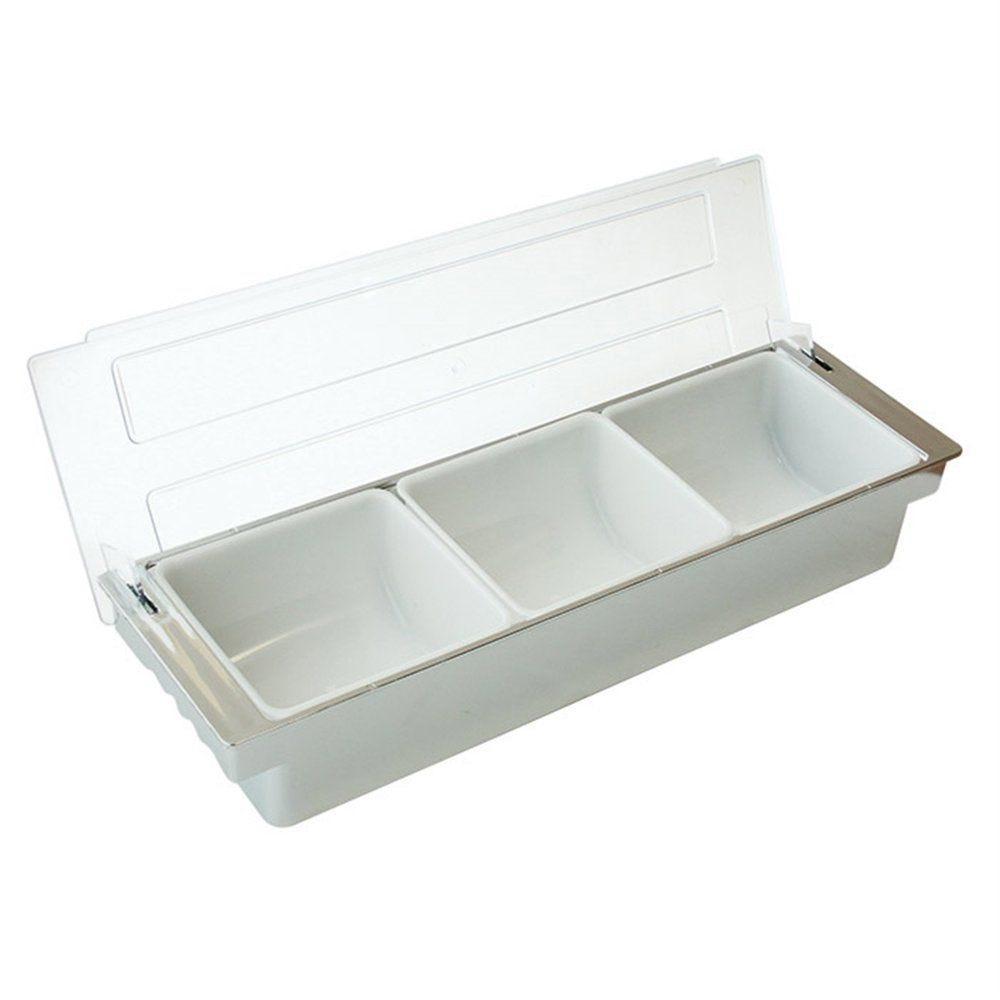 Distributeur à condiments 3 compartiments 49,5x15,7x9cm PS chrome
