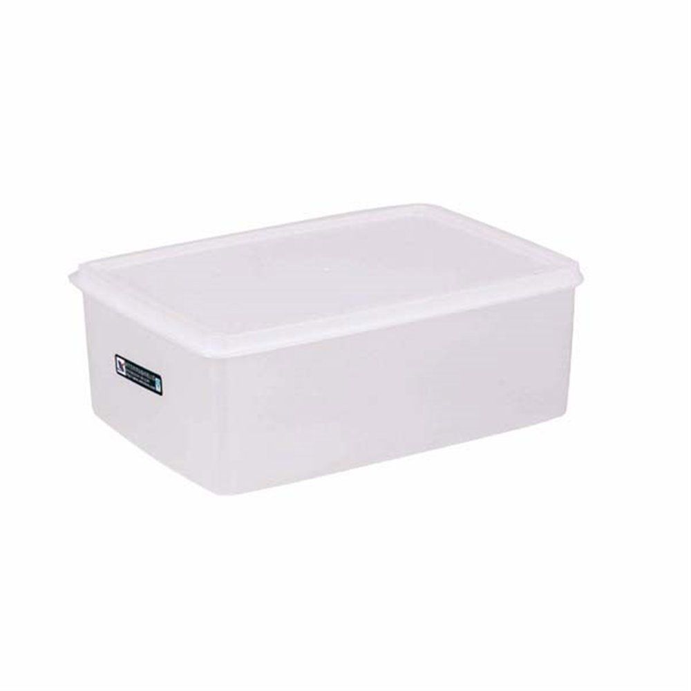 Bac alimentaire + couvercle 3150ml 26x18x10cm polyéthylène blanc (photo)