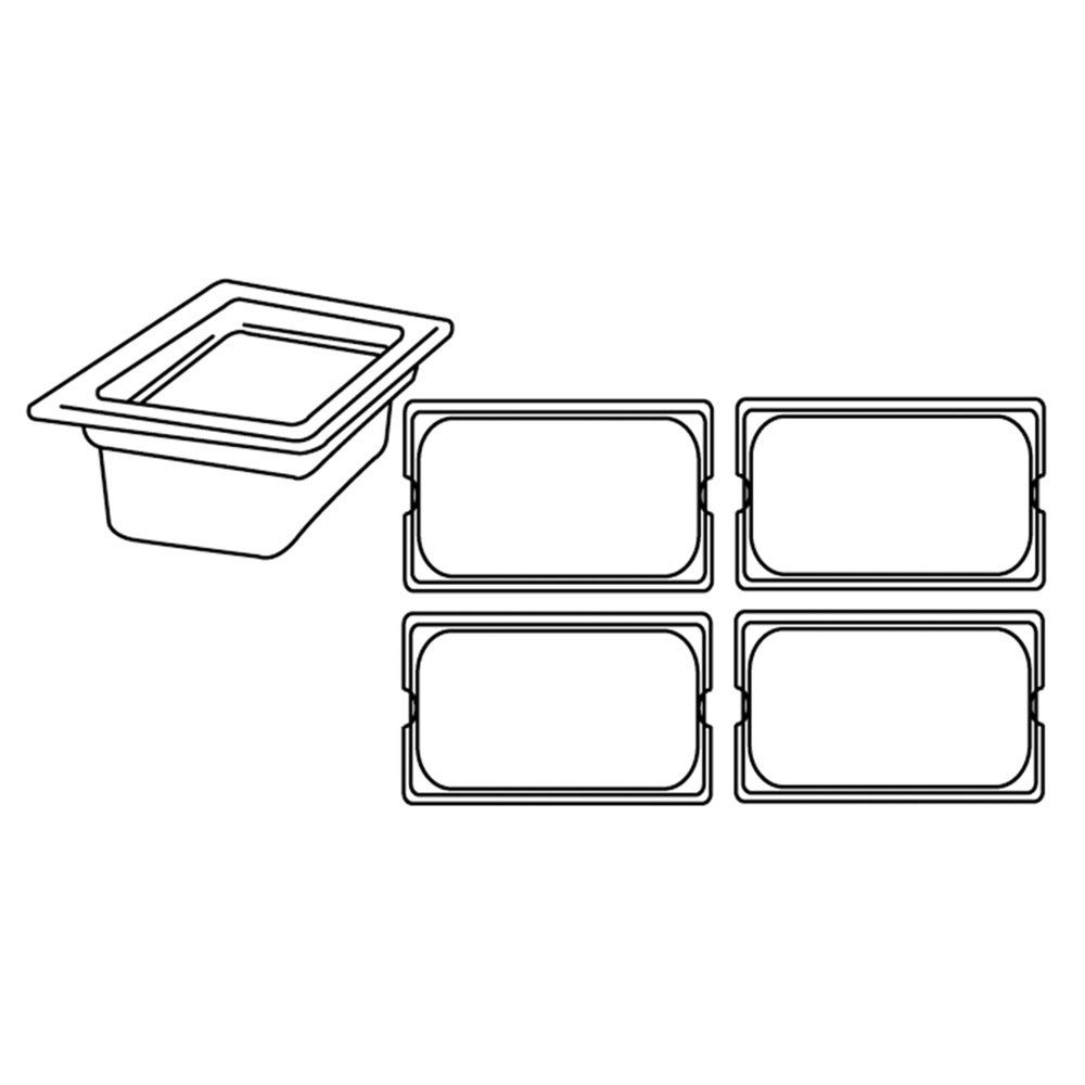 Bac gastronorme 1/4 3,8L 26,5x16x15cm inox