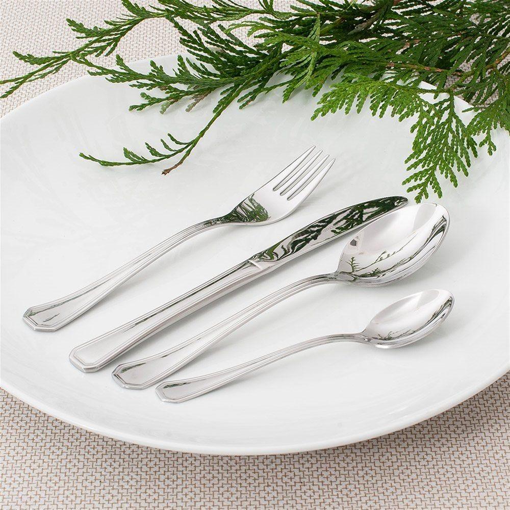 Fourchettes à dessert Coral 15cm acier argent - par 12