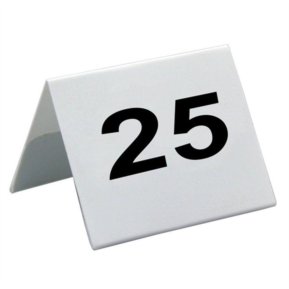 Numéros de table 26 à 50 5x3,6cm plastique blanc