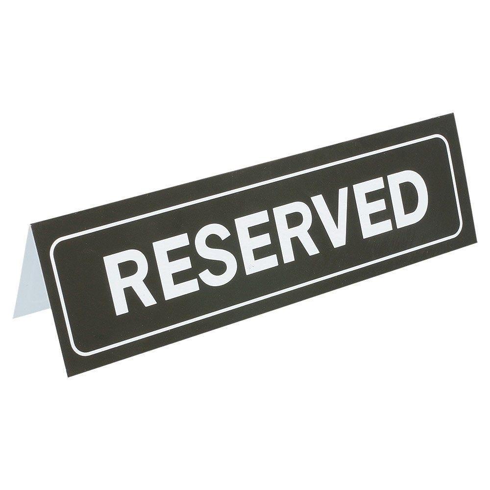 Plaque de table Reserved 18x5,5cm PVC noir