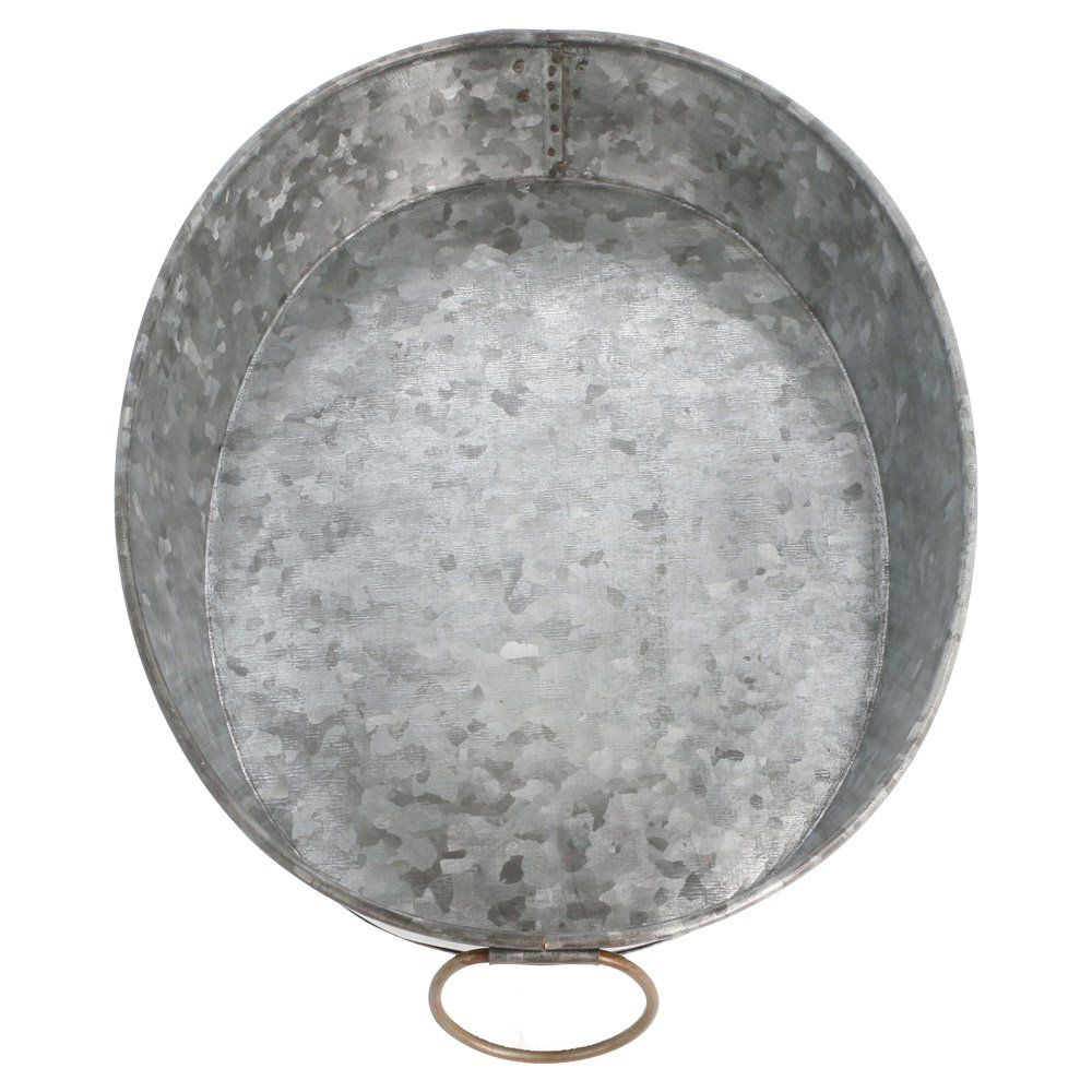 Plateau ovale 25,5x20,5x5cm acier galvanisé