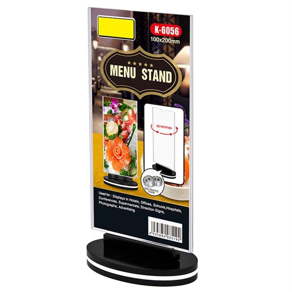 Porte visuel rotatif droit en PS transparent 10x20cm - par 30
