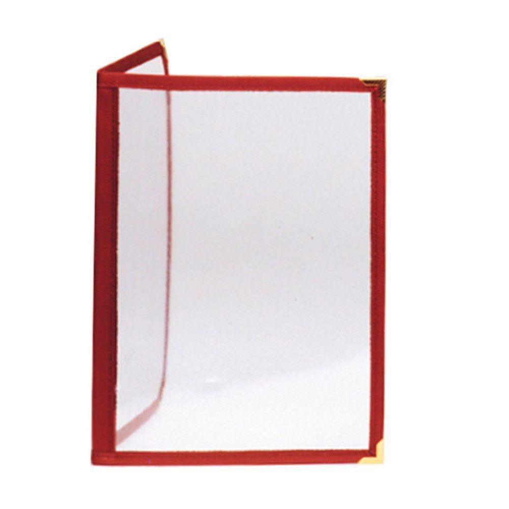 Protège menu 2 volets A4 PVC bordure bordeaux
