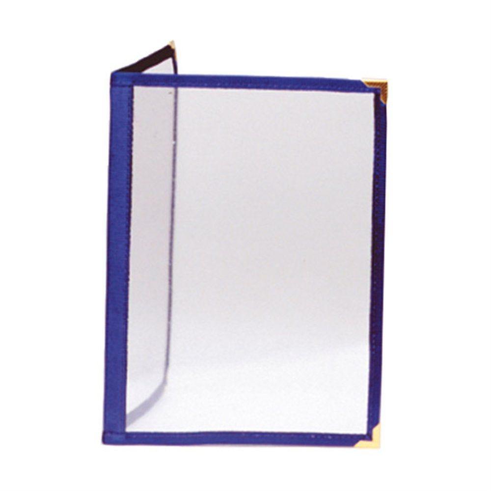 Protège menu 2 volets A4 PVC bordure bleu