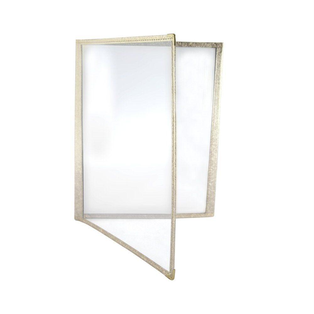 Protège menu 2 volets A4 PVC bordure or