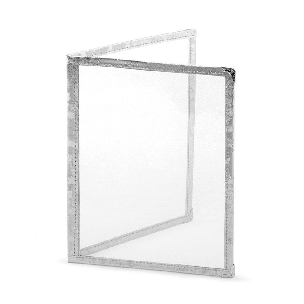Protège menu 2 volets A4 PVC bordure argent