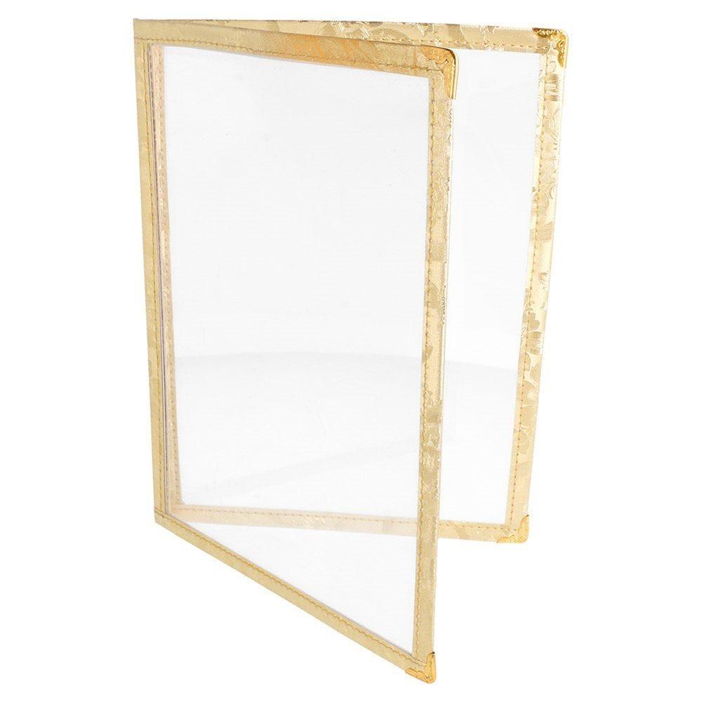 Protège menu 2 volets A5 PVC bordure or