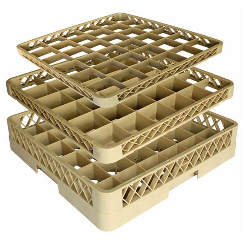 Casier de lavage verres 36 compartiments 50x50x10cm polypropylène beige