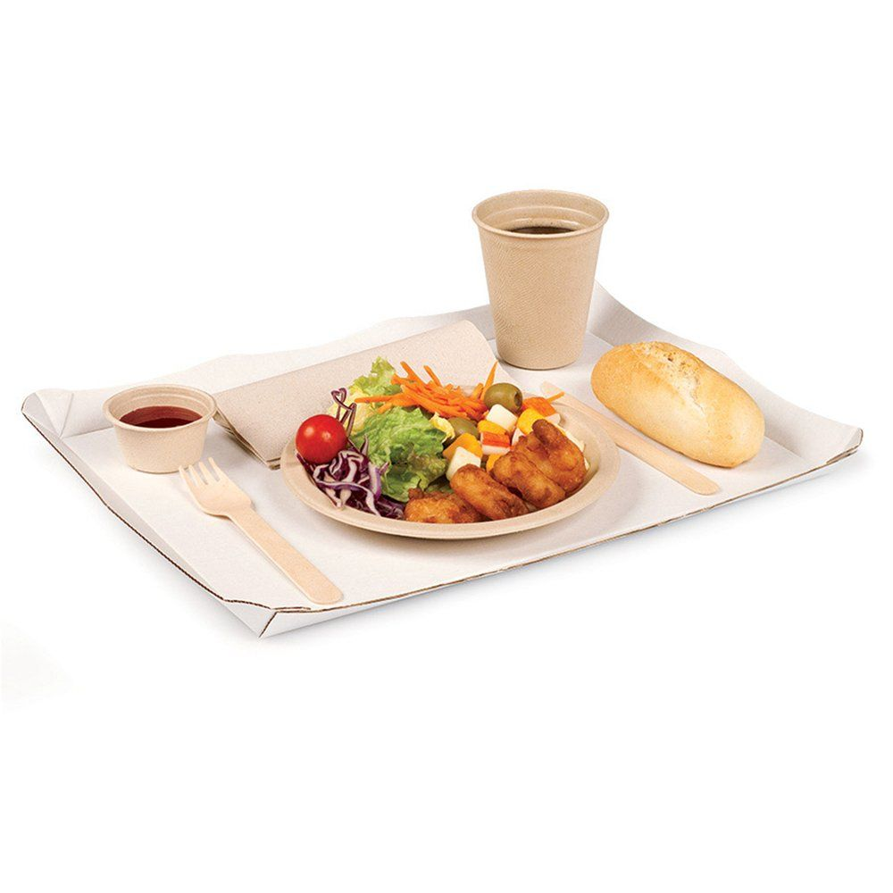 Plateau fast-food carton blanc 24x31cm - par 50