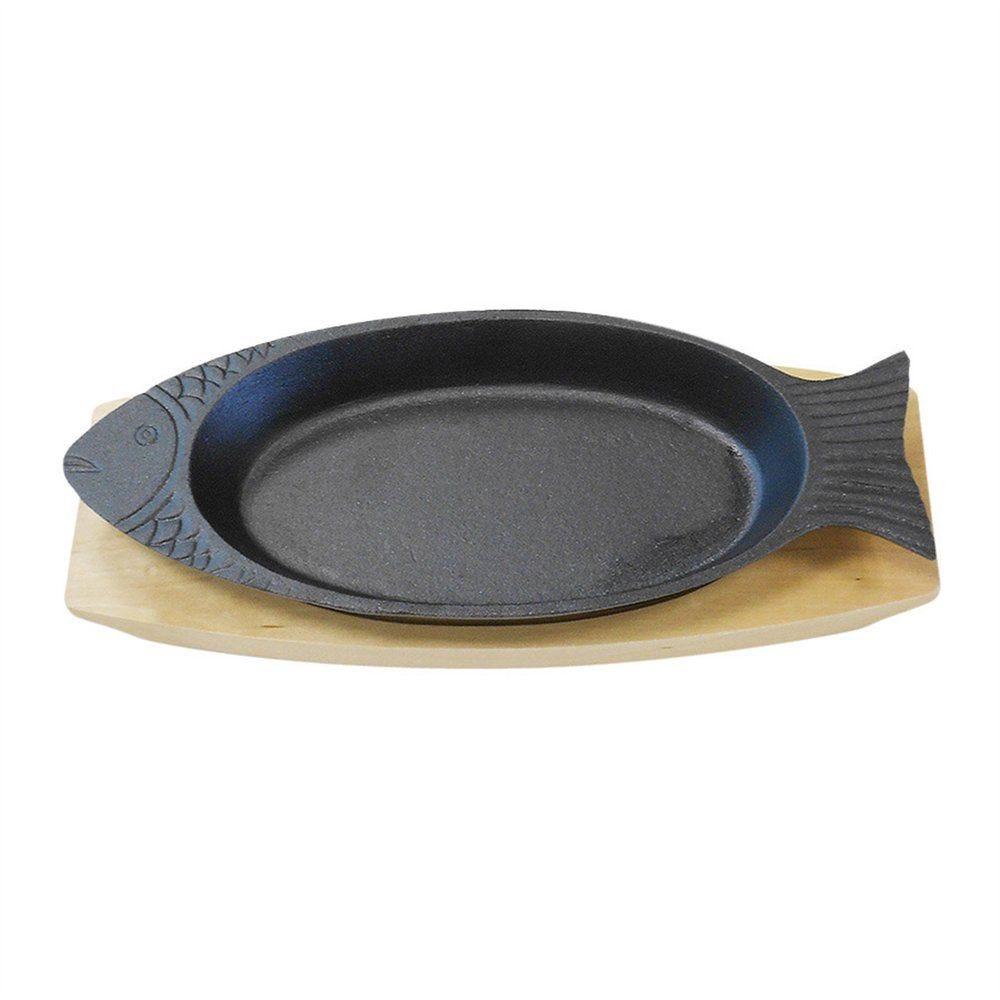 Assiette poisson sur planche 48x19,5cm fer noir et bois - par 6 (photo)