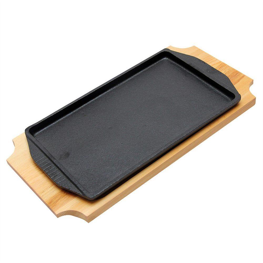 Assiette champêtre sur planche 31x18cm noir fer noir et bois - par 8 (photo)