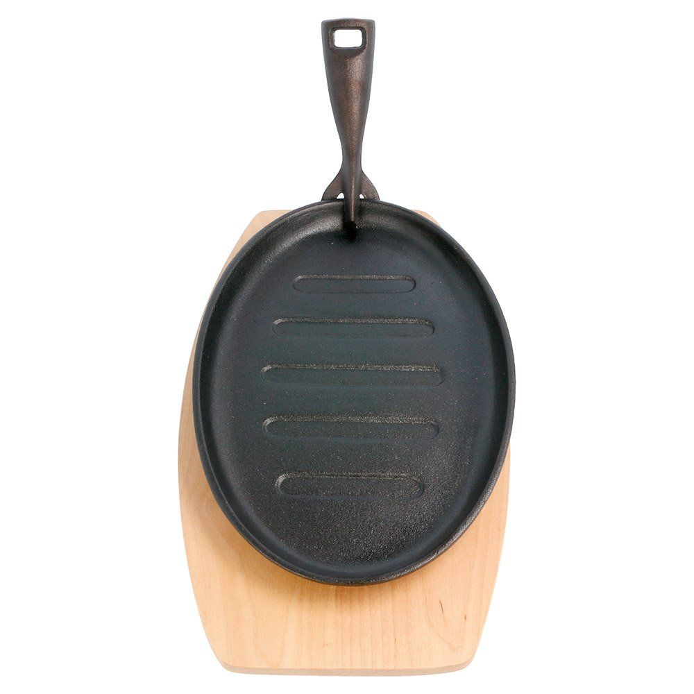 Assiette ovale champêtre sur planche 27x18x2cm fer noir et bois - par 8 (photo)