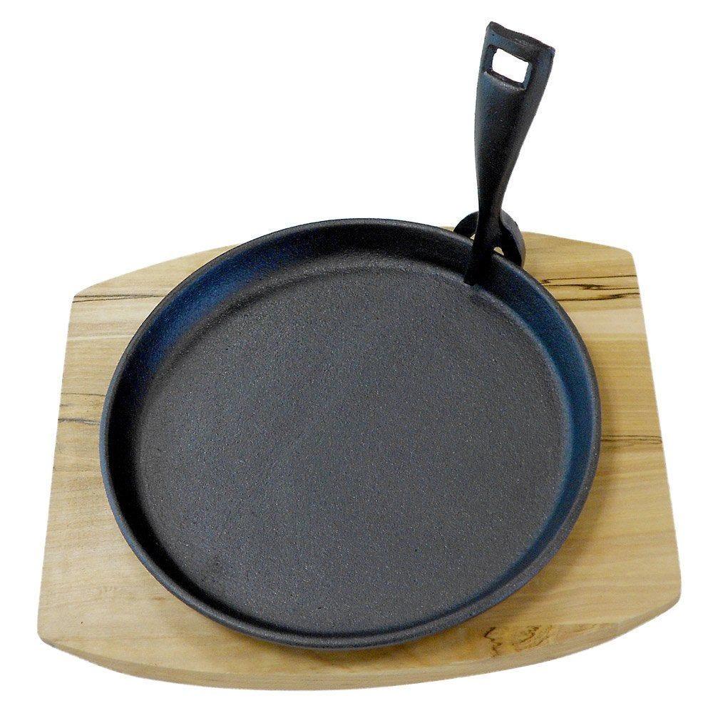 Assiette champêtre sur planche ø22cm fer noir et bois - par 8 (photo)