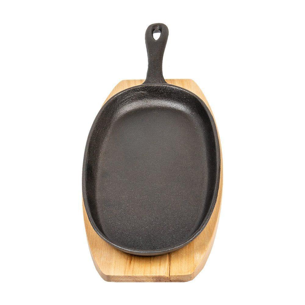 Assiette champêtre sur planche 23,5x13,5cm fer noir et bois - par 8 (photo)