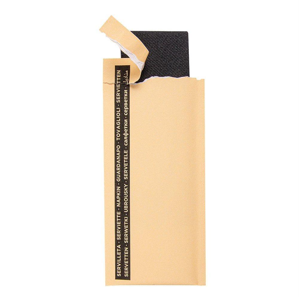Serviette noire 1/12 sous poche cellulose ivoire 33x33cm - par 250