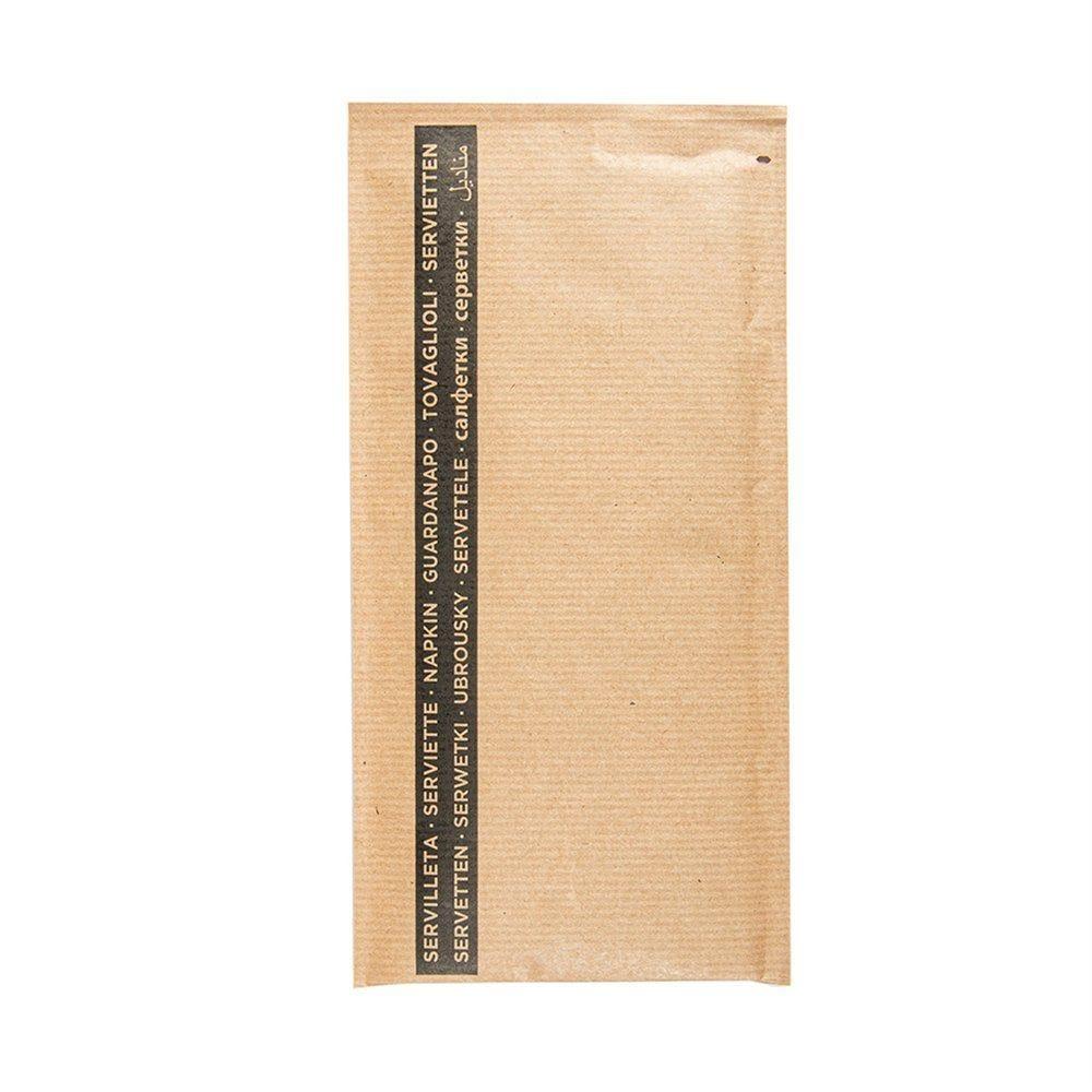 Serviette noire 1/8 sous poche kraft naturel 33x40cm - par 250