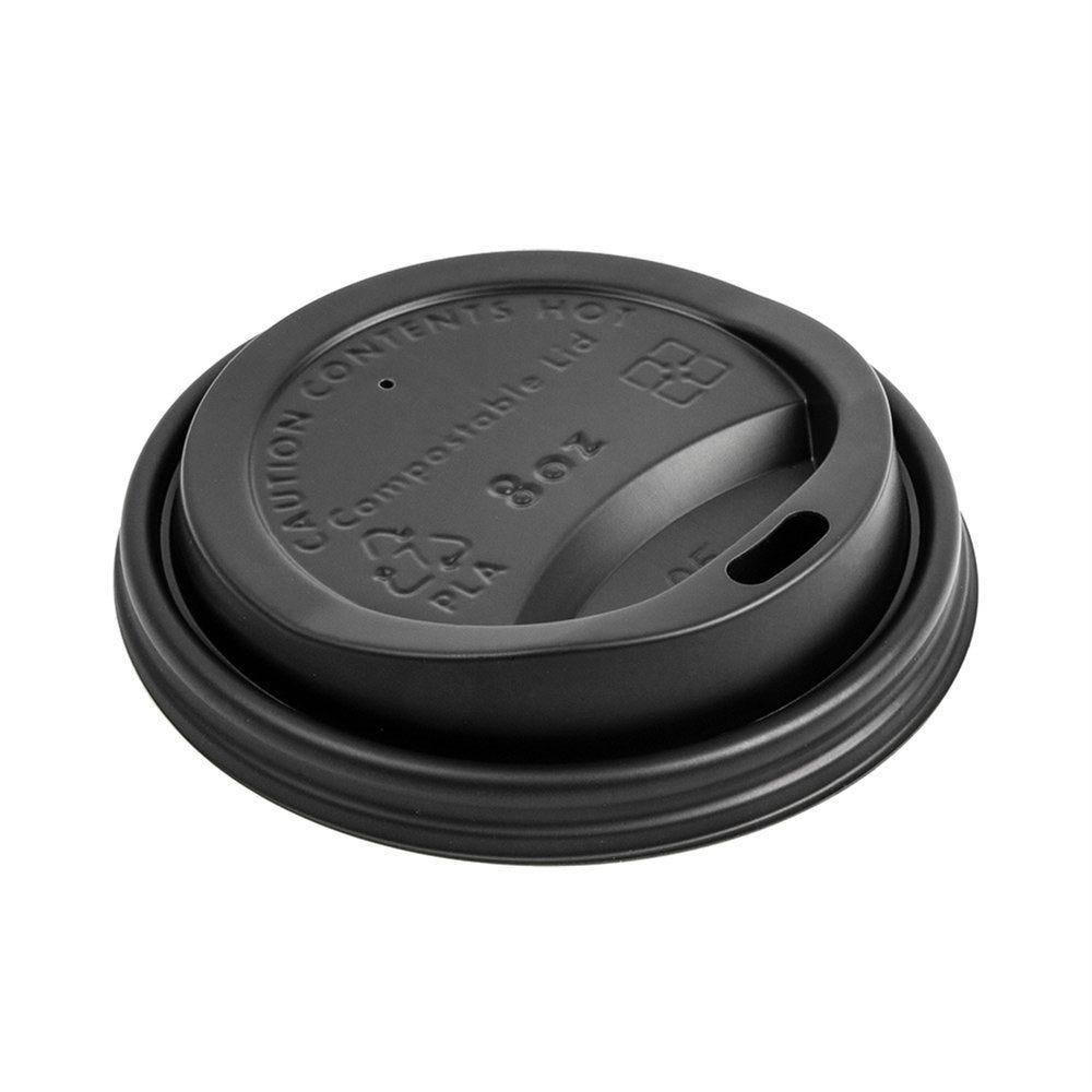 Couvercle noir PLA pour gobelets carton boissons chaudes 24cl - par 1000