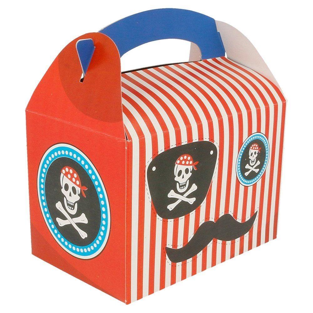 Boîte menu enfant carton Pirate rayures rouges 17x16x10cm - par 50