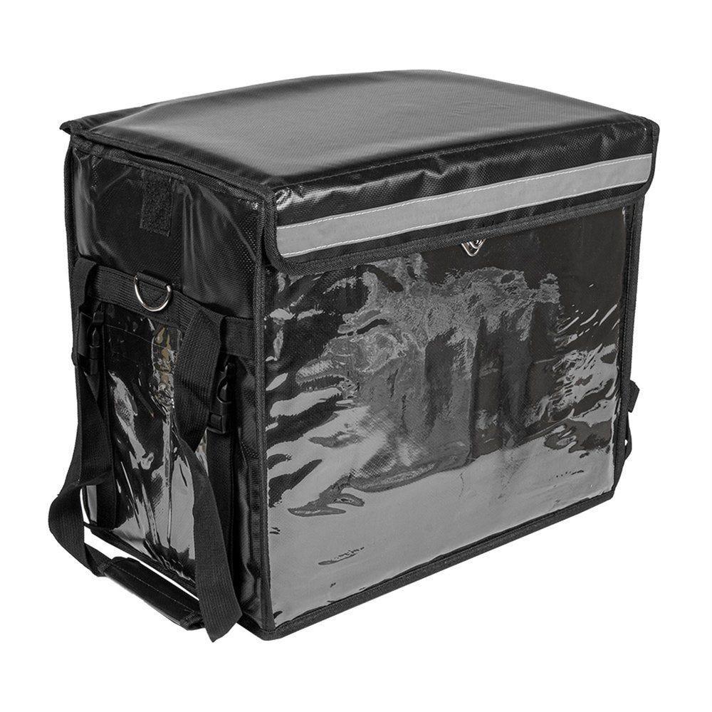 Valise de transport repas avec anses en vinyl noir 44x37x29cm