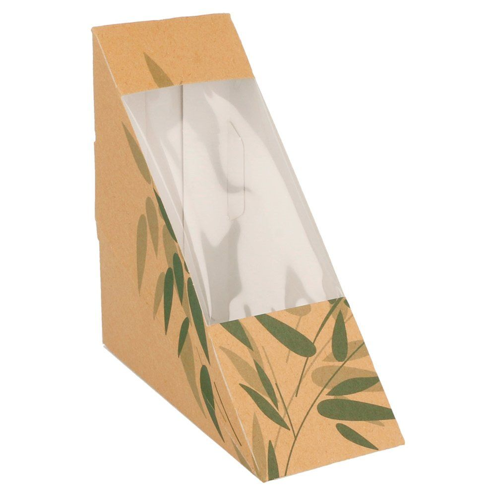 Boîte 1 sandwich triangulaire à fenêtre Feel Green 12,4x12,4x5,5cm - par 100