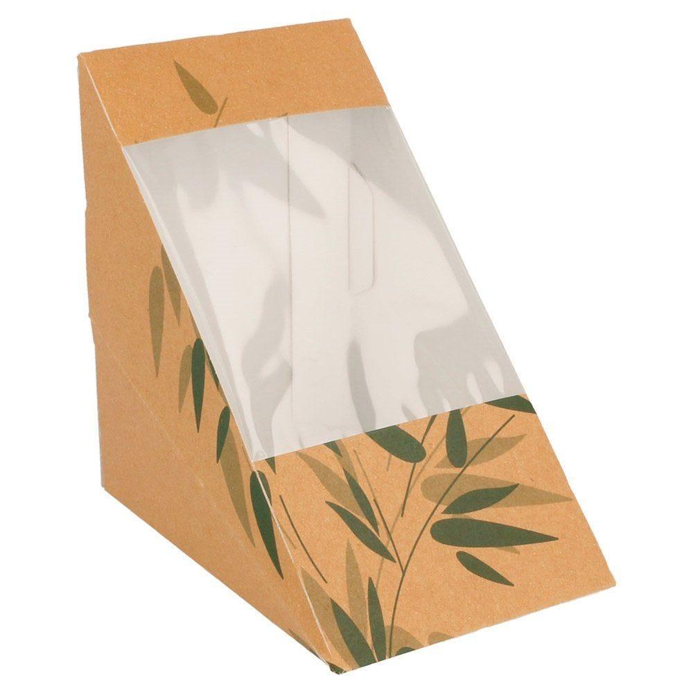 Boîte 3 sandwiches triangulaire à fenêtre Feel Green 12,4x12,4x8,3cm - par 100
