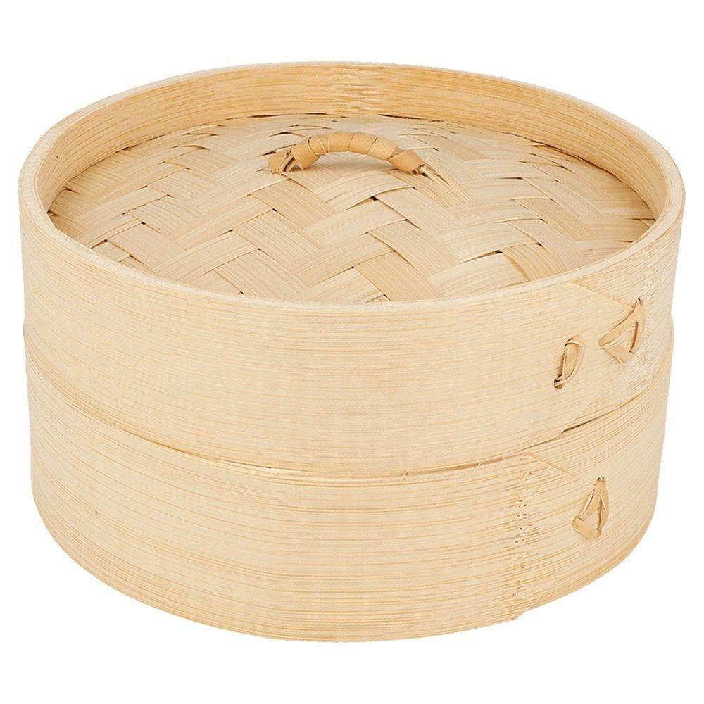 Panier Dim Sum + couvercle en bambou naturel Ø15x8cm