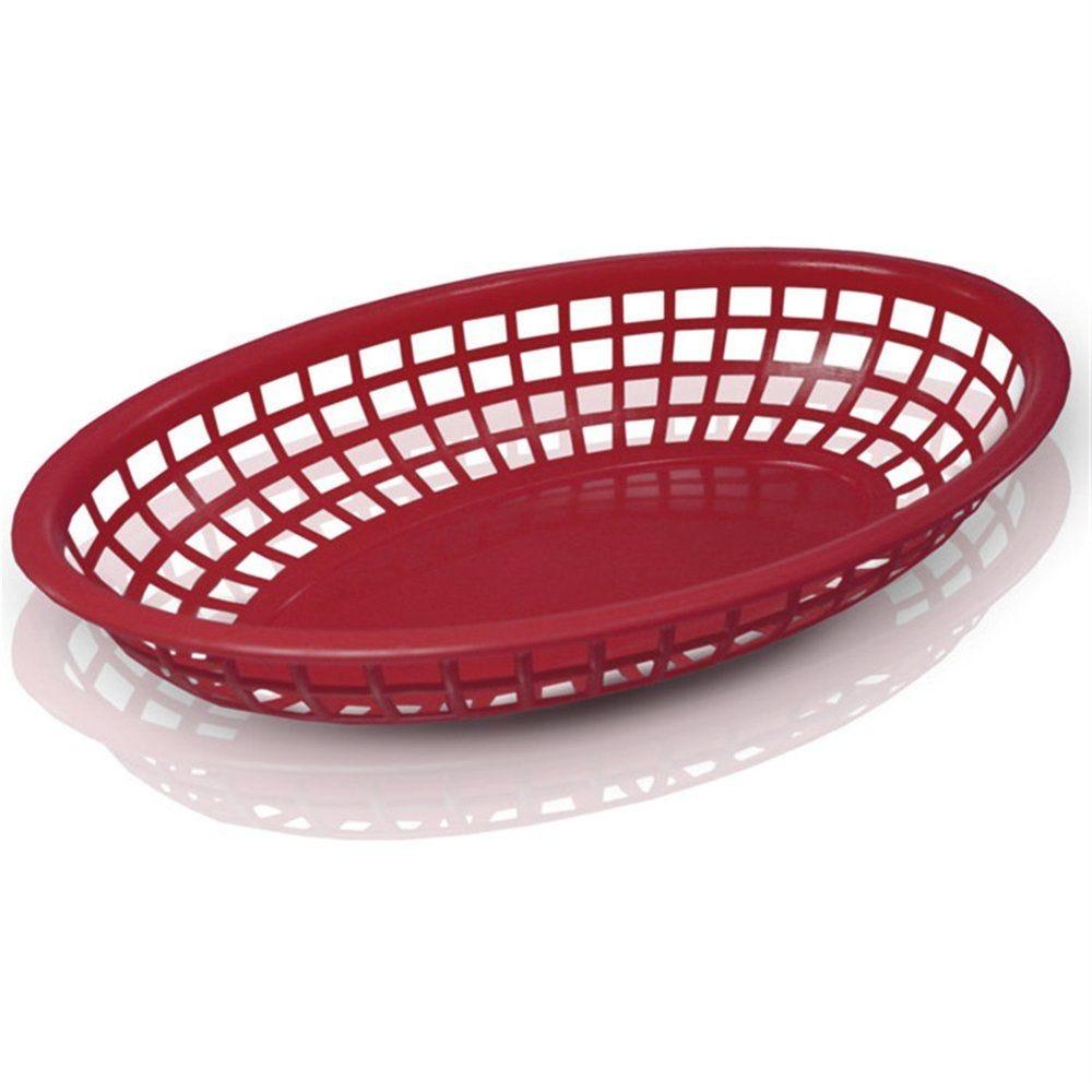 Corbeille ovale PP rouge 24x15x4,5cm - par 12