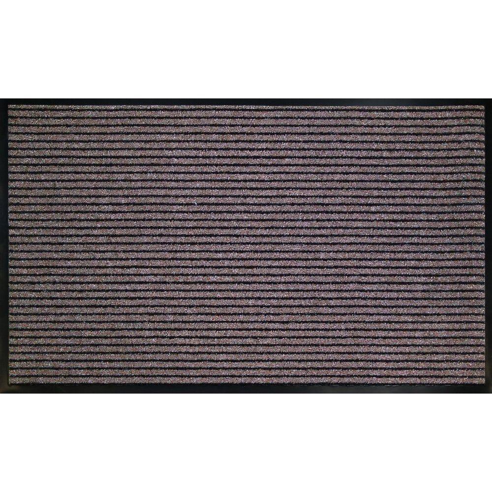 Tapis d'accueil brun rayé noir 90x150cm
