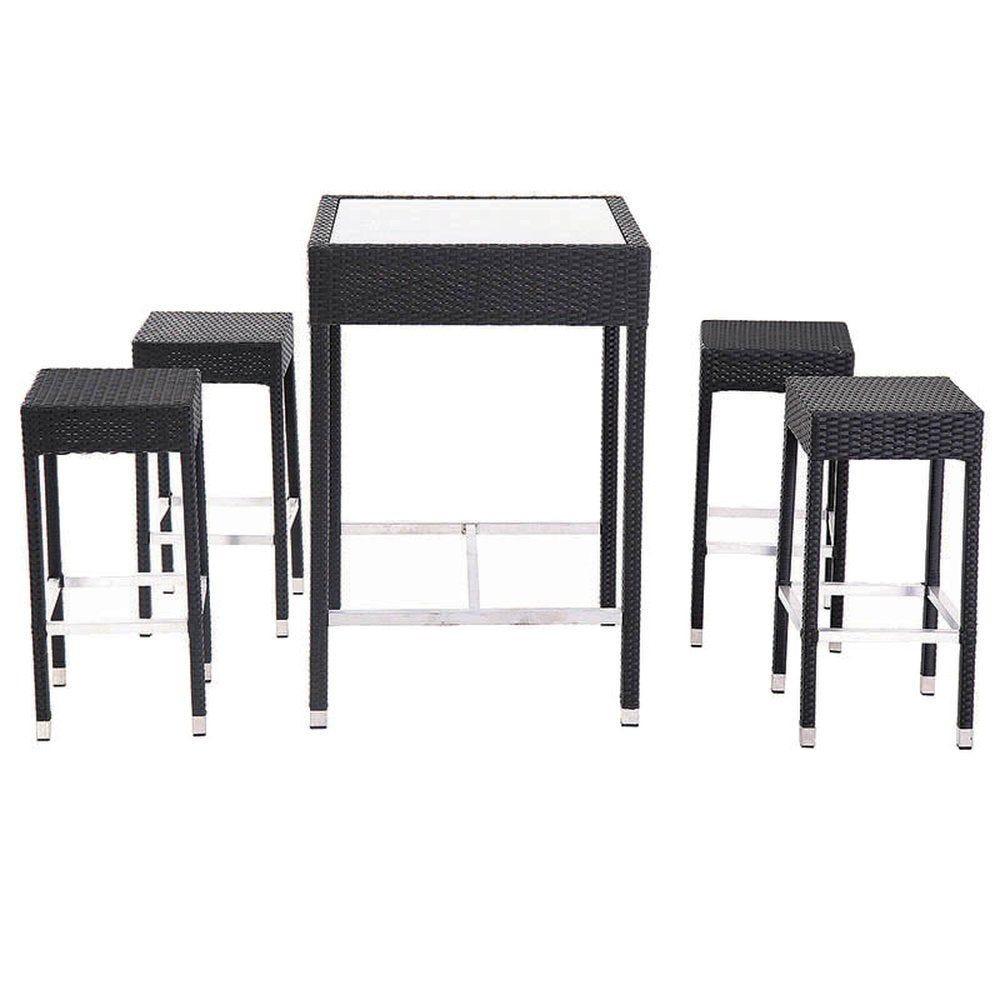 Ensemble table + 4 tabourets tressage gris