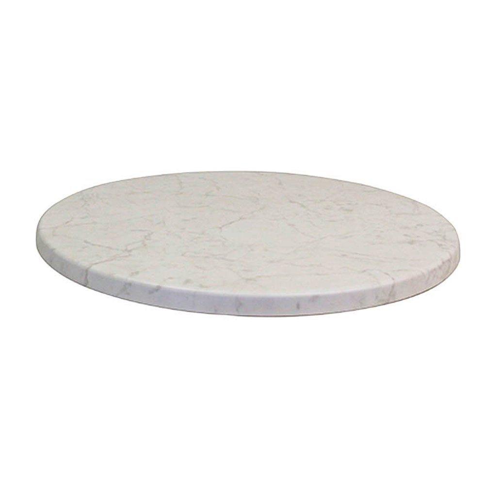 Plateau de table topalit Ø60cm blanc marbré