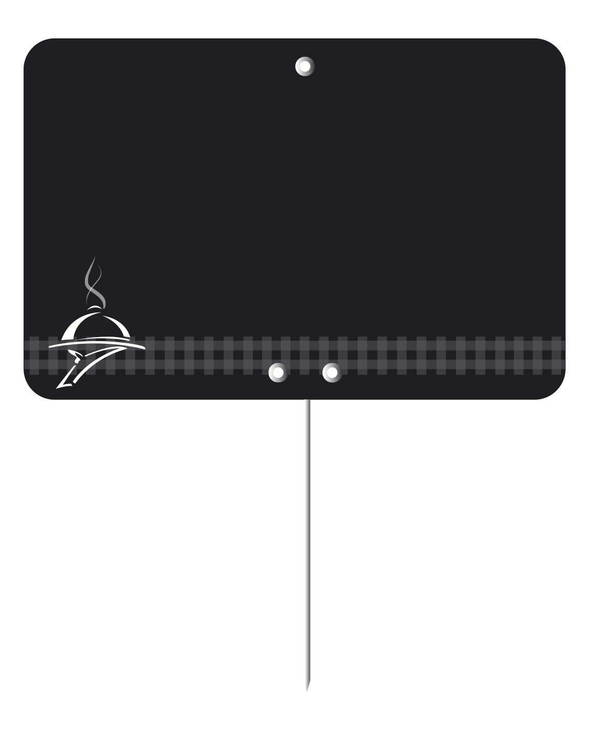 Etiquette  pique-inox 'TOUT COMPRIX' charcuterie-traiteur noir 8x6cm par 10