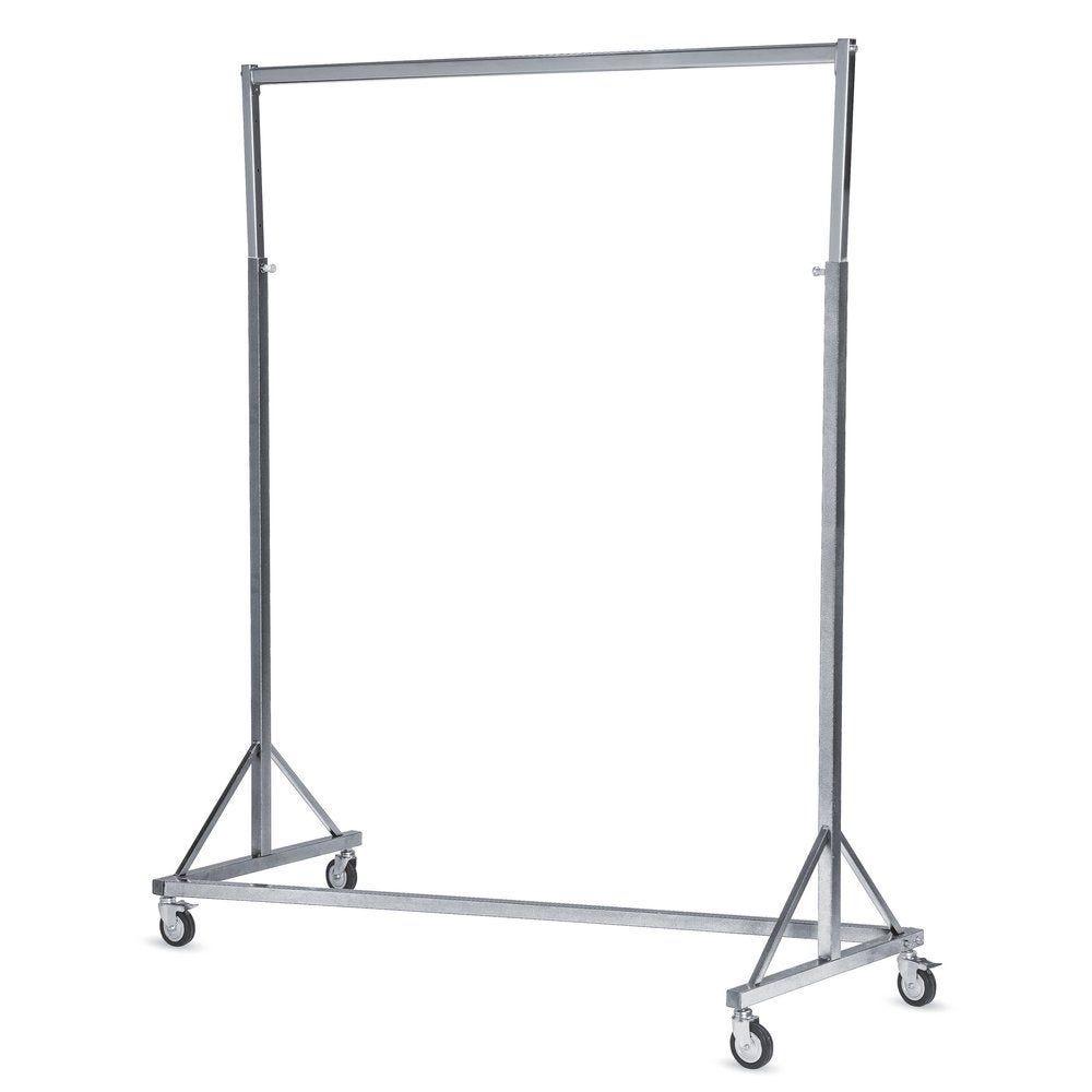 Portant droit industriel gris/chromé L.150cm (photo)