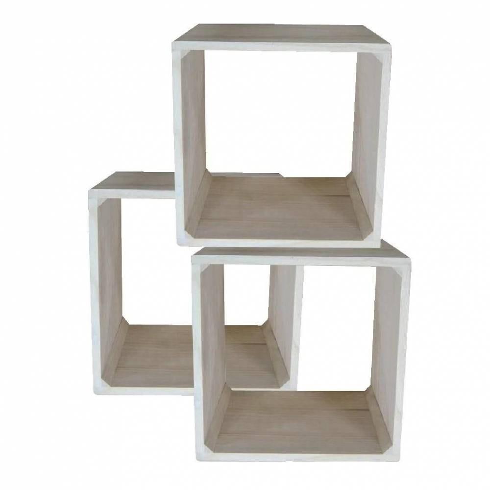 Cube bois naturel - 3 pièces - 3 dimensions (photo)