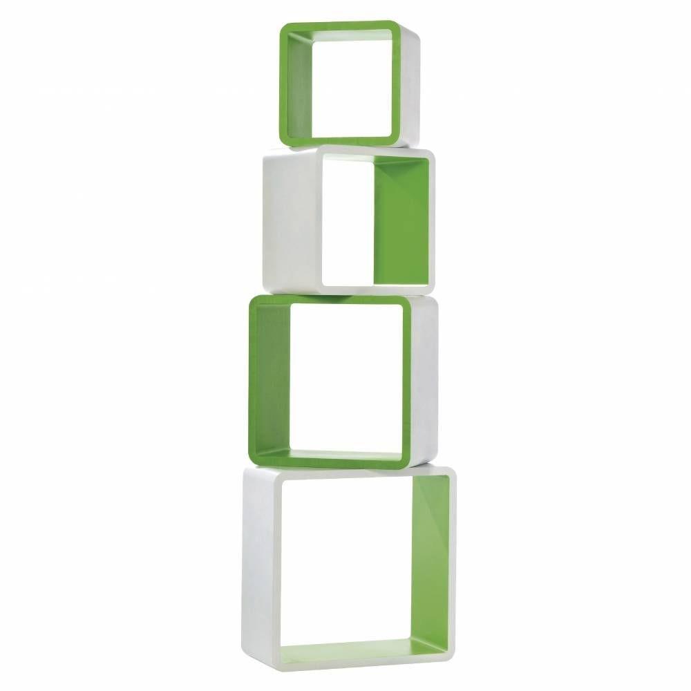 Set 4 cubes bicolore blanc/vert - Prof. 20cm - L41xH41+L36xH36+L31xH31+L26xH26cm (photo)