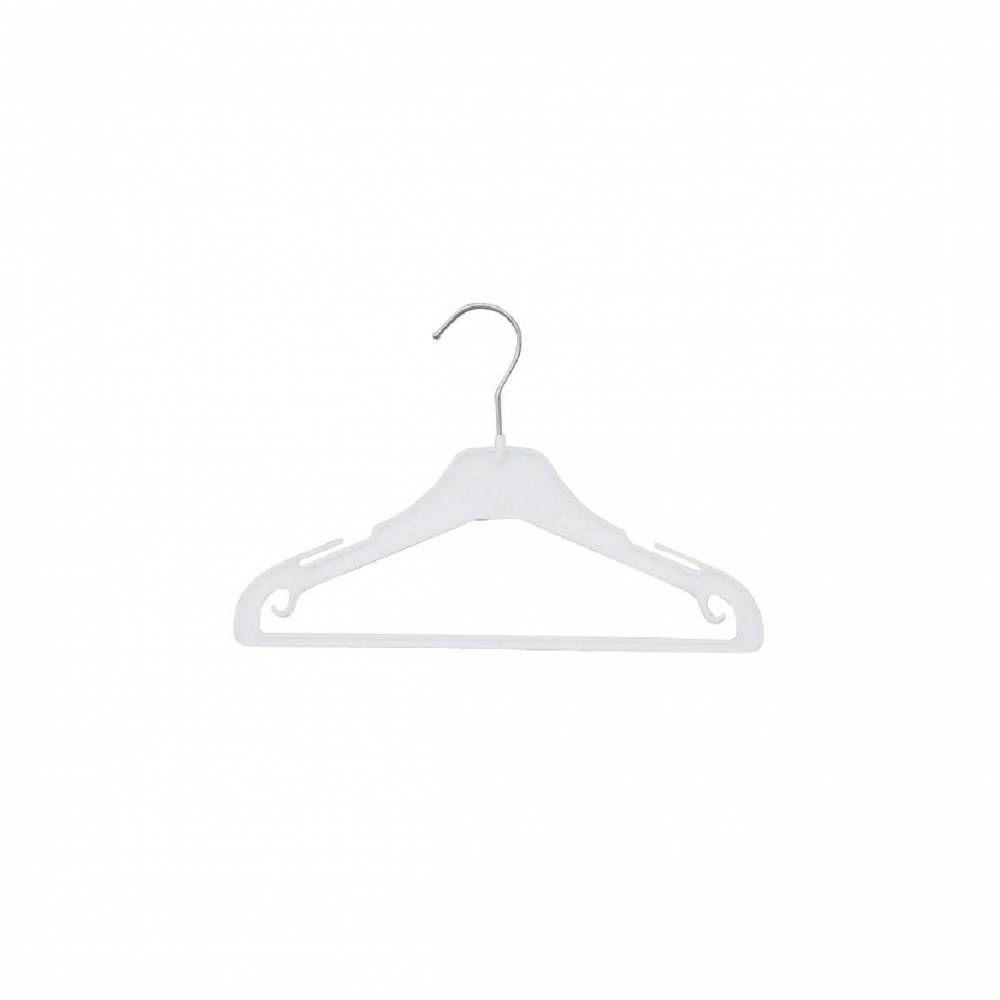 Cintre plastique blanc 30 cm avec encoches et barre x 100 (photo)