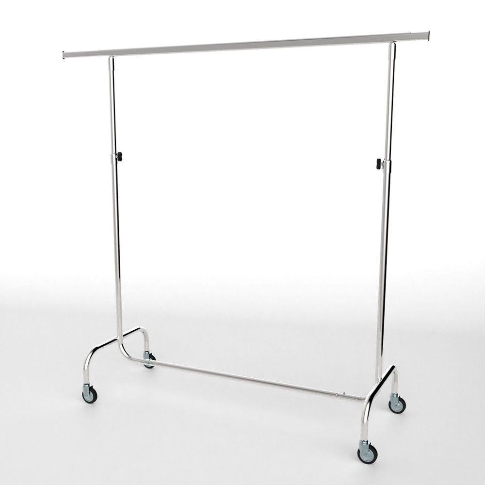 Portant droit chromé hauteur réglable - l.150 cm (photo)