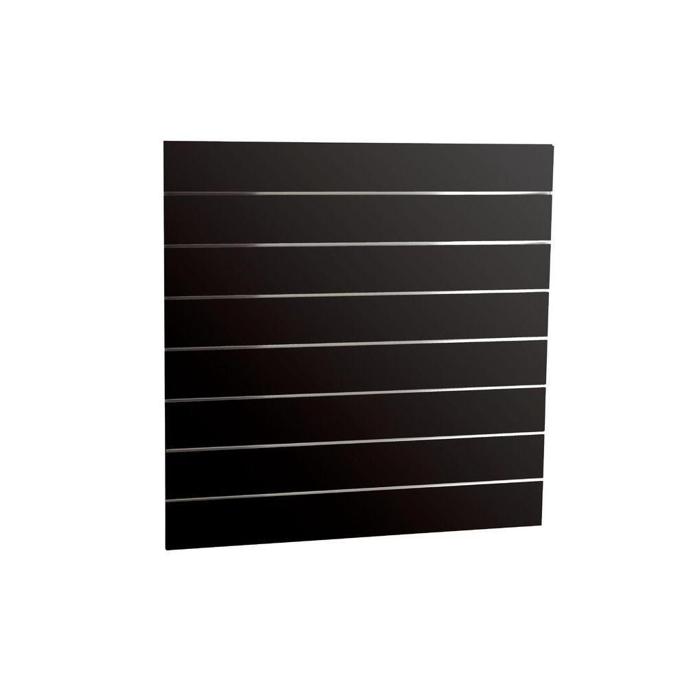 Panneau rainuré noir laqué R15 120 x 120 cm (photo)