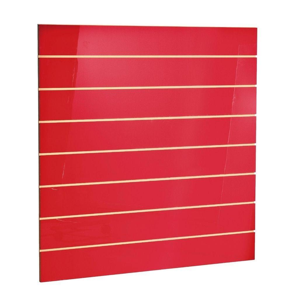 Panneau rainuré R15 120 x 120 cm - rouge laqué (photo)