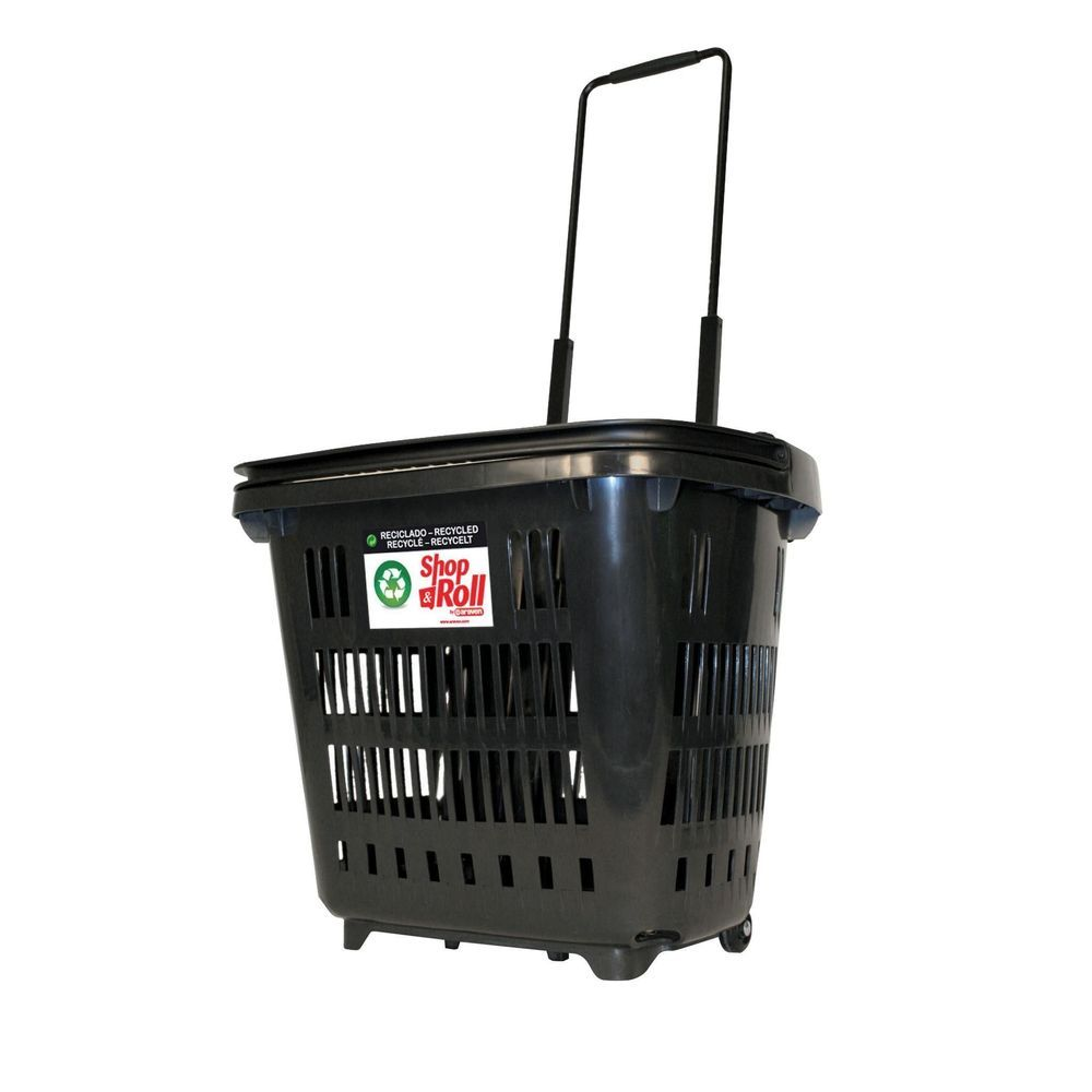 Panier à roulettes 34 L noir recyclé (photo)