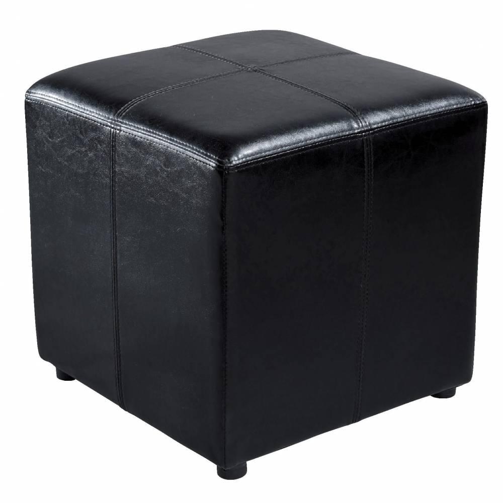 Pouf simili cuir noir - 40.5 x 40.5 x 40.5 cm (photo)