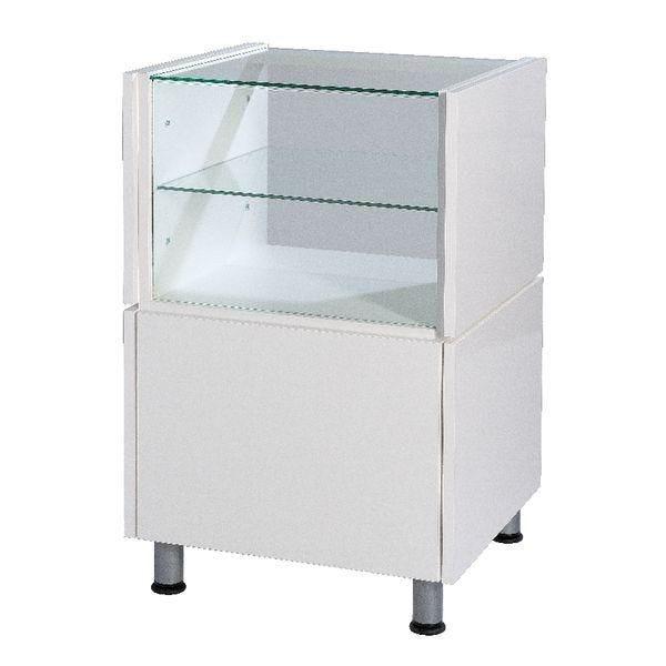 Comptoir blanc simple avec vitrine Banko L.55xP.53xH.93 cm (photo)