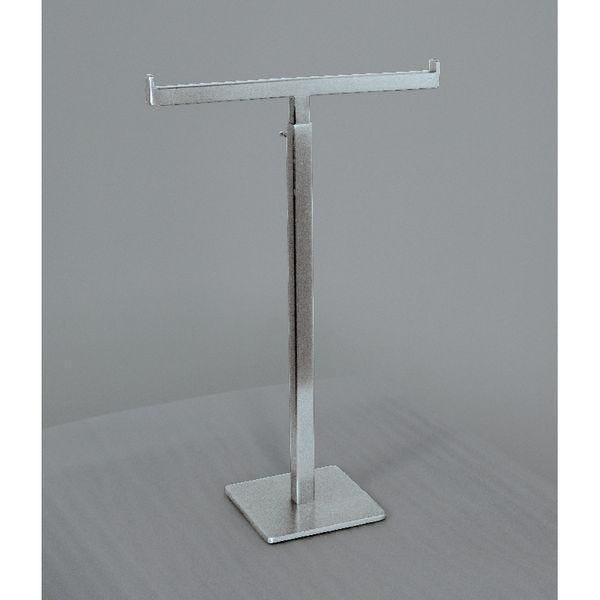 Présentoir en T chromé hauteur réglable de 30 à 53cm Socle 10x10cm (photo)