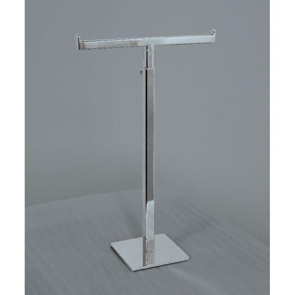 Présentoir T nickel brossé hauteur réglable de 30 à 53cm Socle 10x10cm (photo)