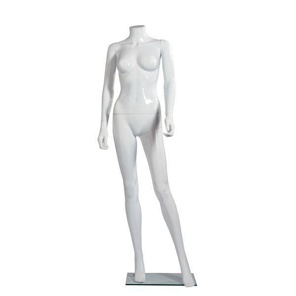 Mannequin femme modulable blanc brillant sans tête jambe avant (photo)